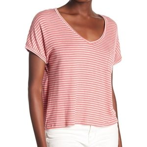 PST by Project Social T Striped V-neck Tee Size L